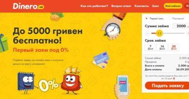 Сервис Dinero, первый кредит под 0%