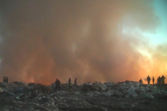 Пожар на свалке вблизи Балаклеи