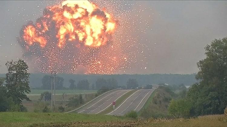 Взрыв складов в Калиновке